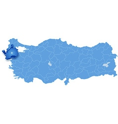 Map of turkey canakkale vector