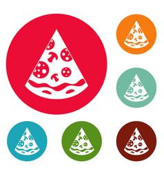 Pizza slice icons circle set vector