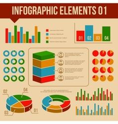 Retro infographics elements set information and vector
