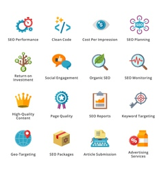 Seo and internet marketing flat icons - set 4 vector
