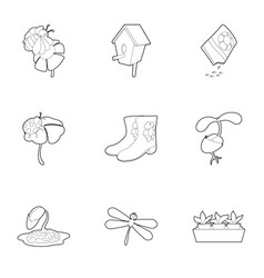 spring time icons set outline style vector image