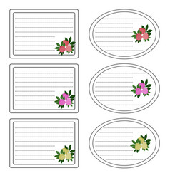 sticker on a school with flowers vector image