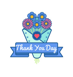 thank you day greeting emblem vector image vector image