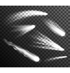 White meteors and comets set transparent vector