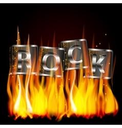 word rock metal flame vector image