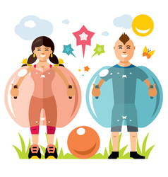 Zorbing soccer bumper ball sign two vector