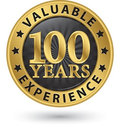 100 years valuable experience gold label vector image