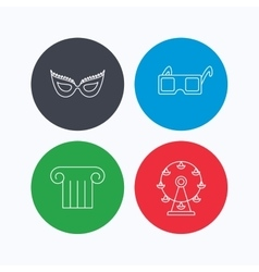 Mask 3d glasses and column icons vector