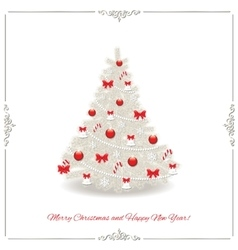 Christmas tree decorated in silver and red colors vector