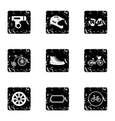 Race cycling icons set grunge style vector