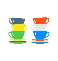 Clean cups and dishware vector