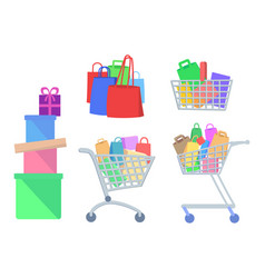 set of shopping icons in flat style vector image