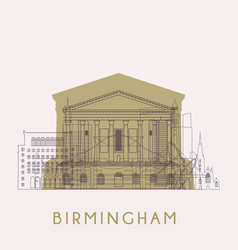 Outline birmingham skyline with landmarks vector