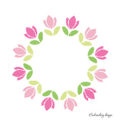 floral round frame embroidered tulips isolated on vector image
