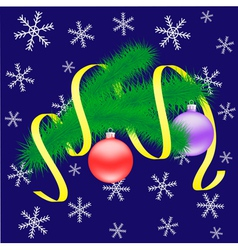 Christmas branch with balls vector image