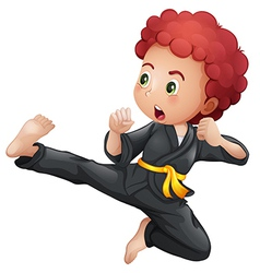 A young boy doing karate vector image