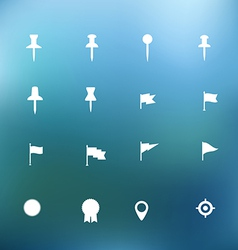 White icons clip-art on color background vector image