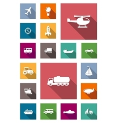 Transportation flat icons with shadows vector