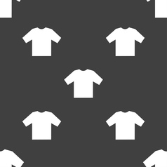 T-shirt icon sign seamless pattern on a gray vector