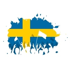 Celebrating crowd with sweden flag vector