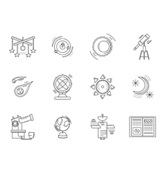 Thin line style astronomy icons vector