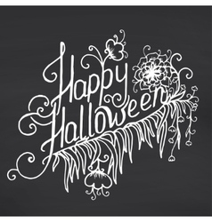Happy halloween message design on chalkboard vector