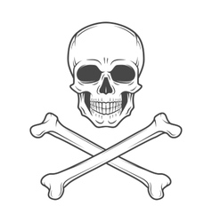 Human evil skull  jolly roger with vector