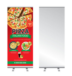 Pizza roll up banner stand design vector