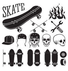 Set of skateboarding designer elements vector