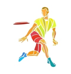 Sportsman throwing ultimate frisbee color vector