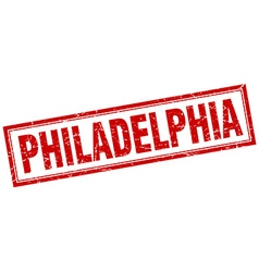 Philadelphia red square grunge stamp on white vector