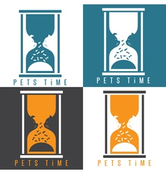 Negative space with pets and sandglass vector