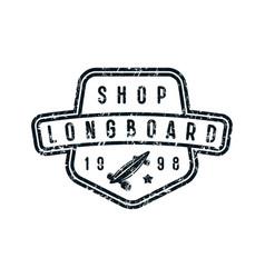 badge of longboard shop vector image