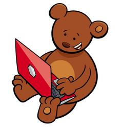 Bear with notebook cartoon vector