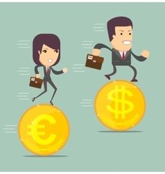 Business people on the coins run vector image vector image