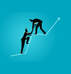 Businessmen helping each other on top of graphic vector