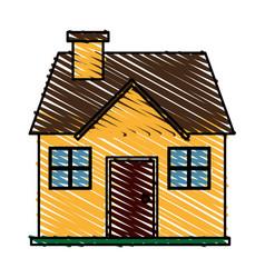 color crayon stripe cartoon facade confortable vector image vector image