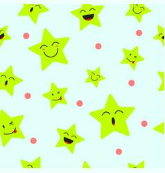 cute star emoji seamless pattern background vector image