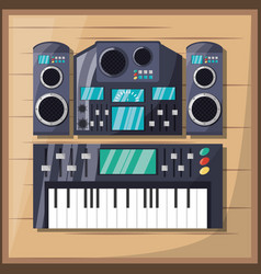 Electric keyboard with amplifier speaker and vector