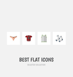 flat icon clothes set of lingerie singlet foot vector image