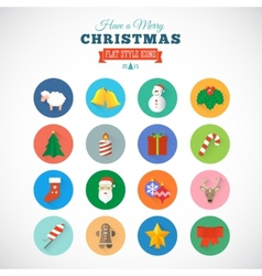 Flat Style Christmas Icon Set With Gift Box Santa vector image