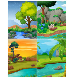 Four forest scenes with rivers vector