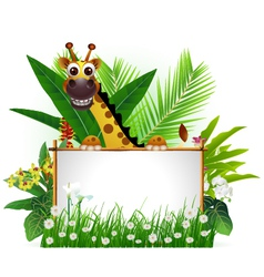 funny giraffe with blank sign vector image