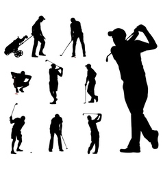 Golfers silhouettes 2 vector image vector image