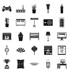 Habitation icons set simple style vector