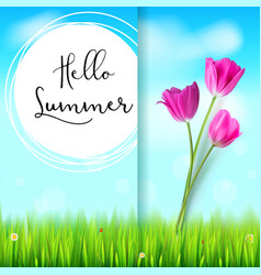 hello summer post card pink tulips on the blue vector image vector image