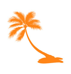 isolated palm tree silhouette vector image