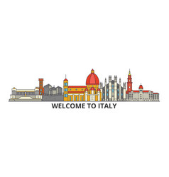 Italy outline skyline italian flat thin line vector