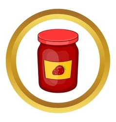 Jar of strawberry jam icon vector image