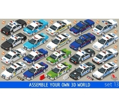 Police 01 Flat Vehicle Isometric vector image vector image